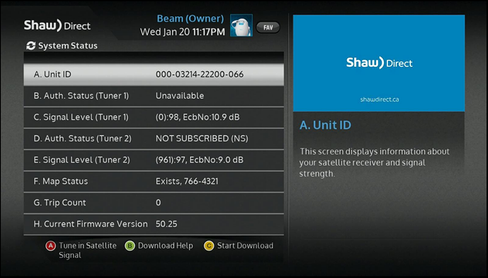Shaw Direct - Troubleshooting satellite receiver not authorized or